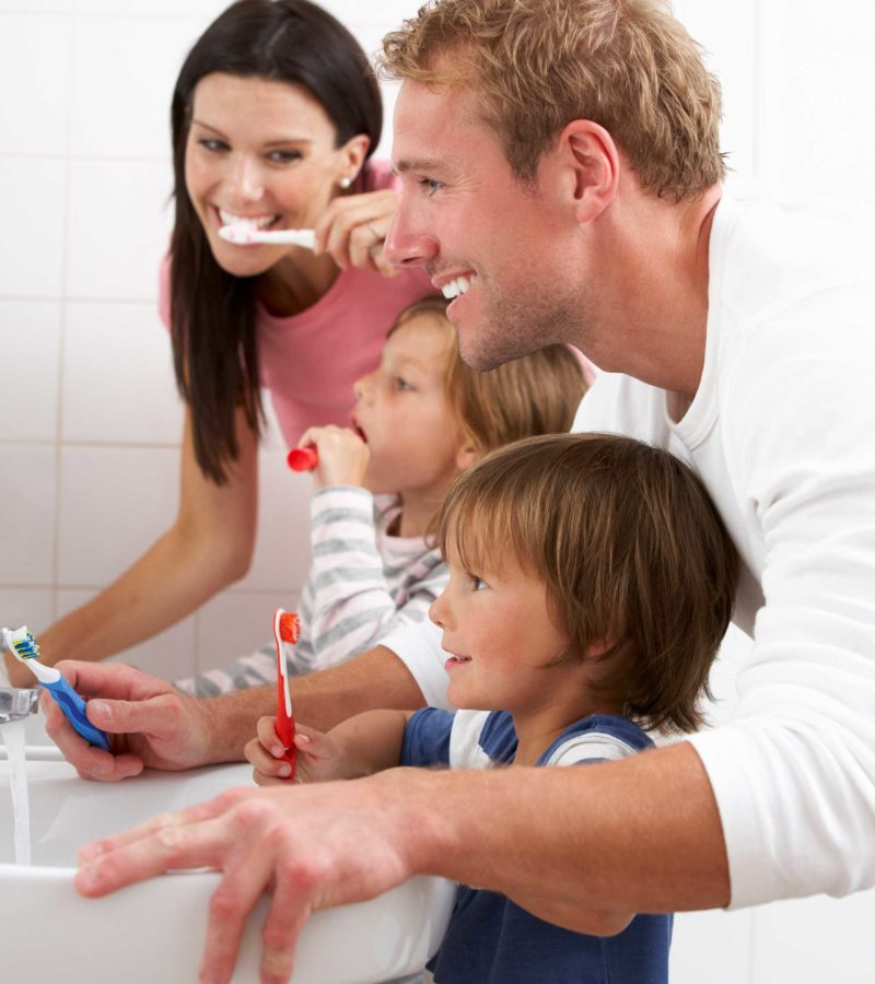 northwest houston texas family brushing teeth